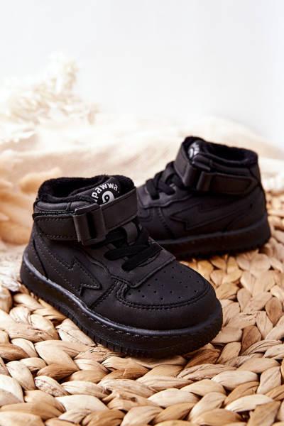 Dziecięce Wysokie Ocieplane Buty Sportowe Czarne Clafi
